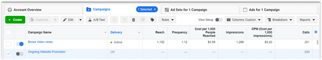 Facebook Intregration-View Calls in Ads Manager